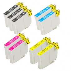 9 PACK COMBO - Remanufactured Epson T220XL High Capacity Cartridges (includes 3 bk + 2 Each c,m,y)